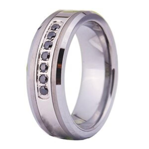 Tungsten Black and Sapphire Wedding Band
