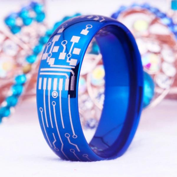 Tungsten 8mm Circuit Board Wedding Ring