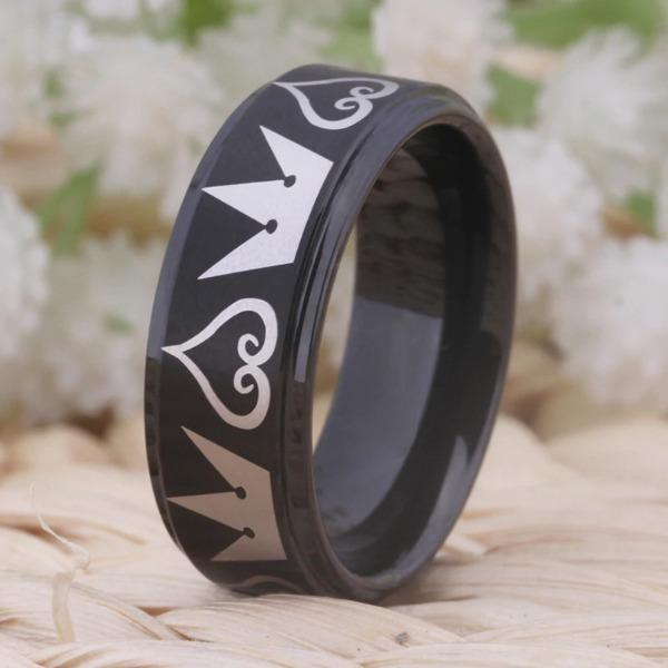 Tungsten 6mm Hearts and Crowns Wedding Bands
