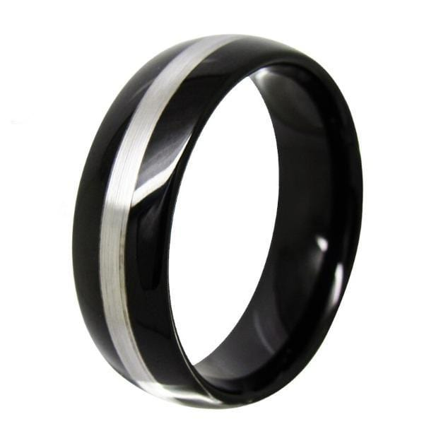 Tungsten 8mm Black Matte Line Ring