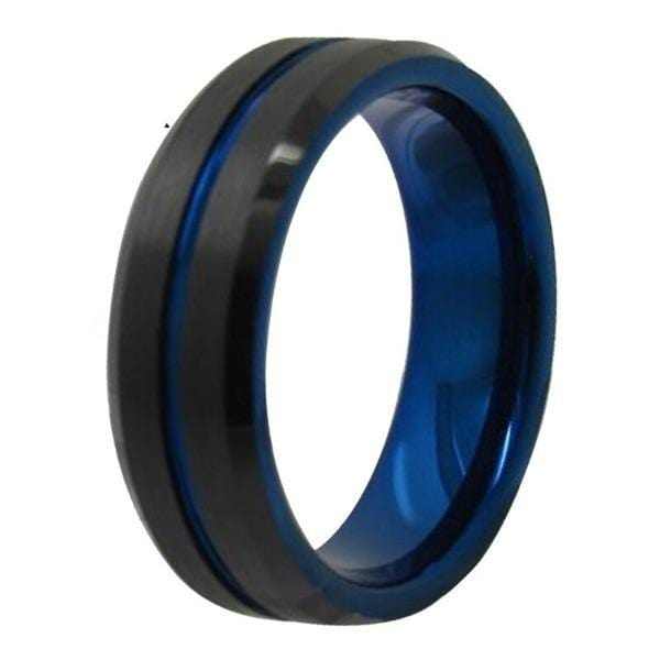 Tungsten 6mm Electric Blue and Black Wedding Bands