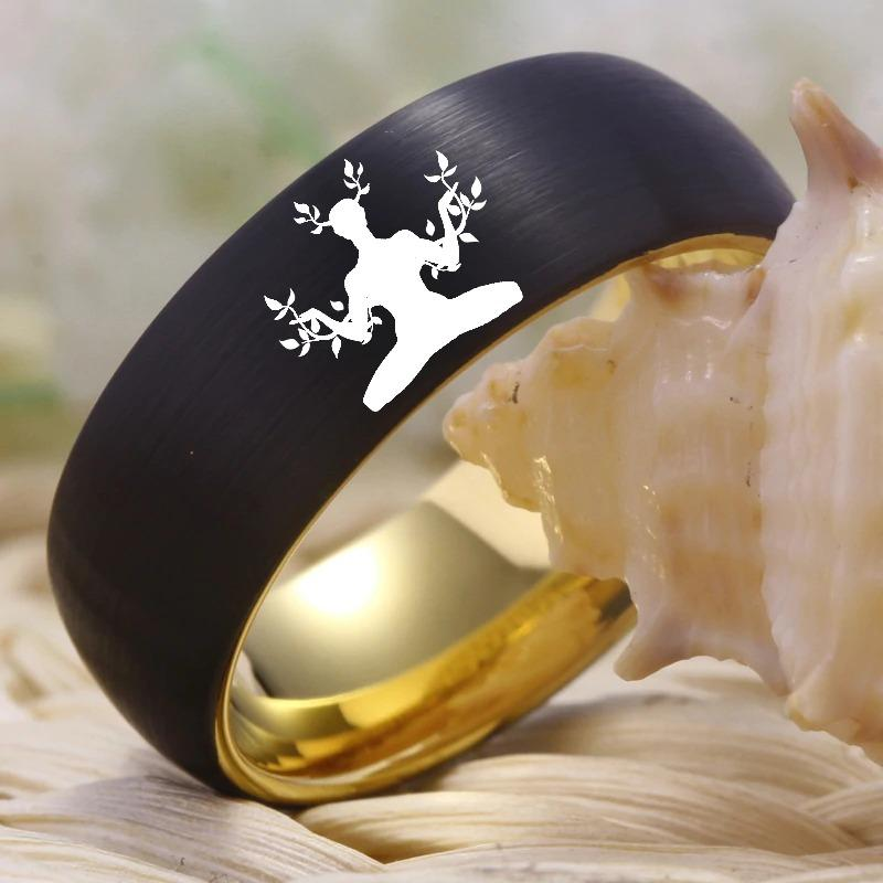 Tungsten Two Tone Yoga Ring