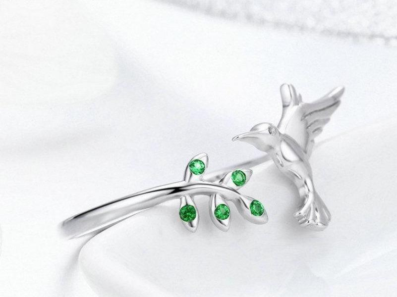 Silver Hummingbird Ring