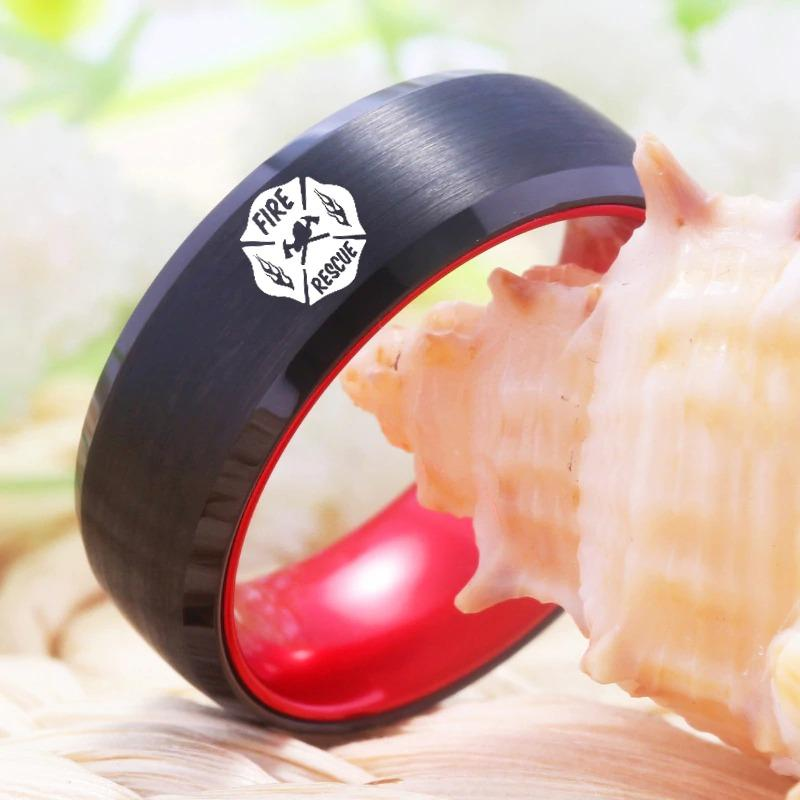 Tungsten Red and Black Fire Rescue Ring