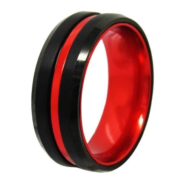 Tungsten 8mm Black and Red Wedding Bands