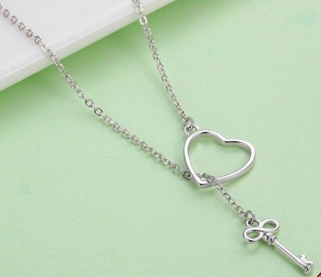 Sterling Silver Heart and Lock Necklace