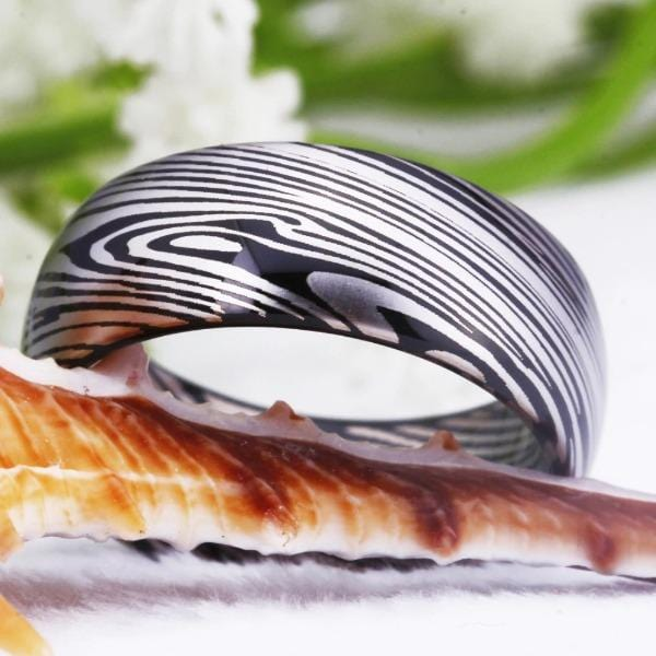 Tungsten 6mm Abstract Wedding Bands
