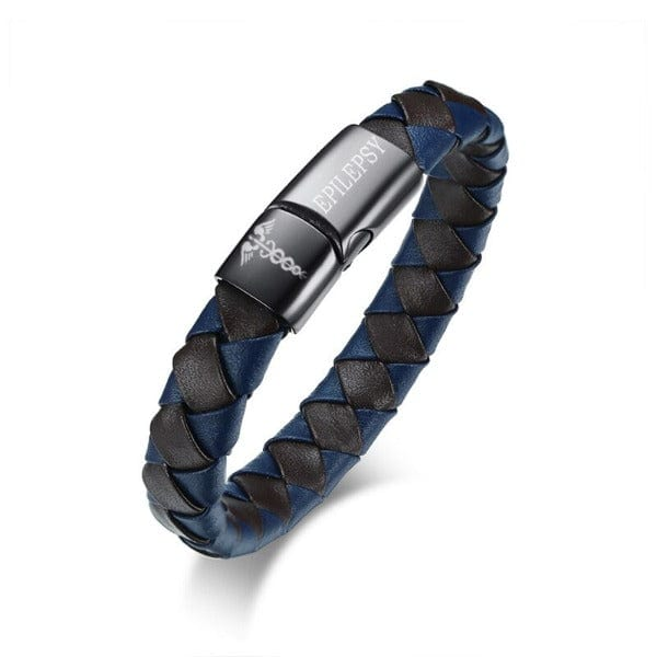 Genuine Leather Engraved  Epilepsy   Bracelet