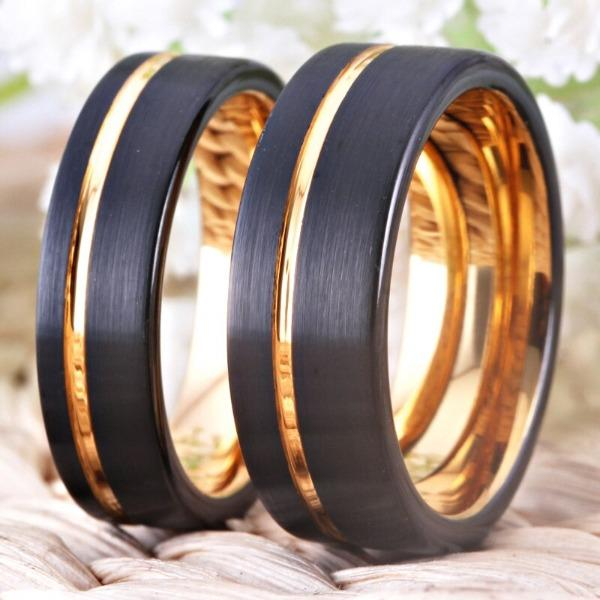 Tungsten Vintage Black and Rose Gold Wedding Bands