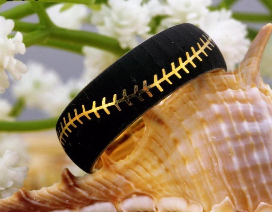 Tungsten Two Tone Baseball Ring