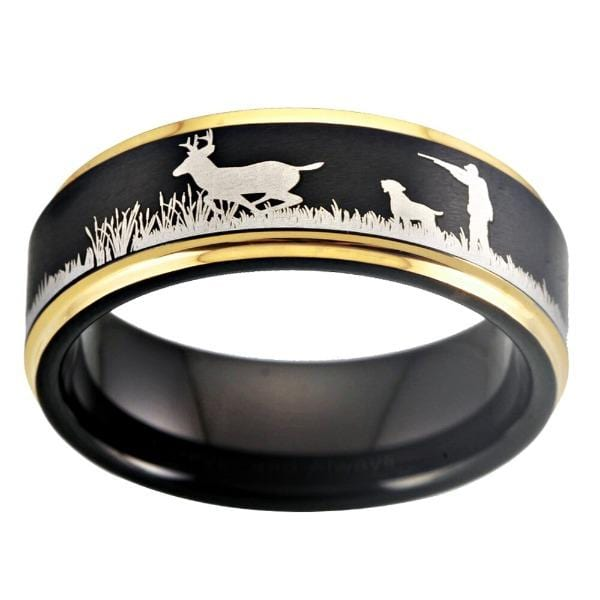 Tungsten Gold Deer Hunting Ring