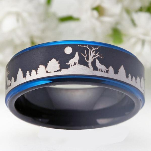 Tungsten Black with Blue Forest Wolves Ring