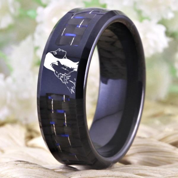 Tungsten Black Wolf Girl Ring