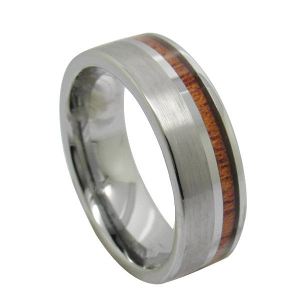Tungsten Silver Ring With Wood Inlay
