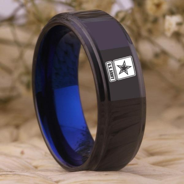Tungsten Blue Military Ring