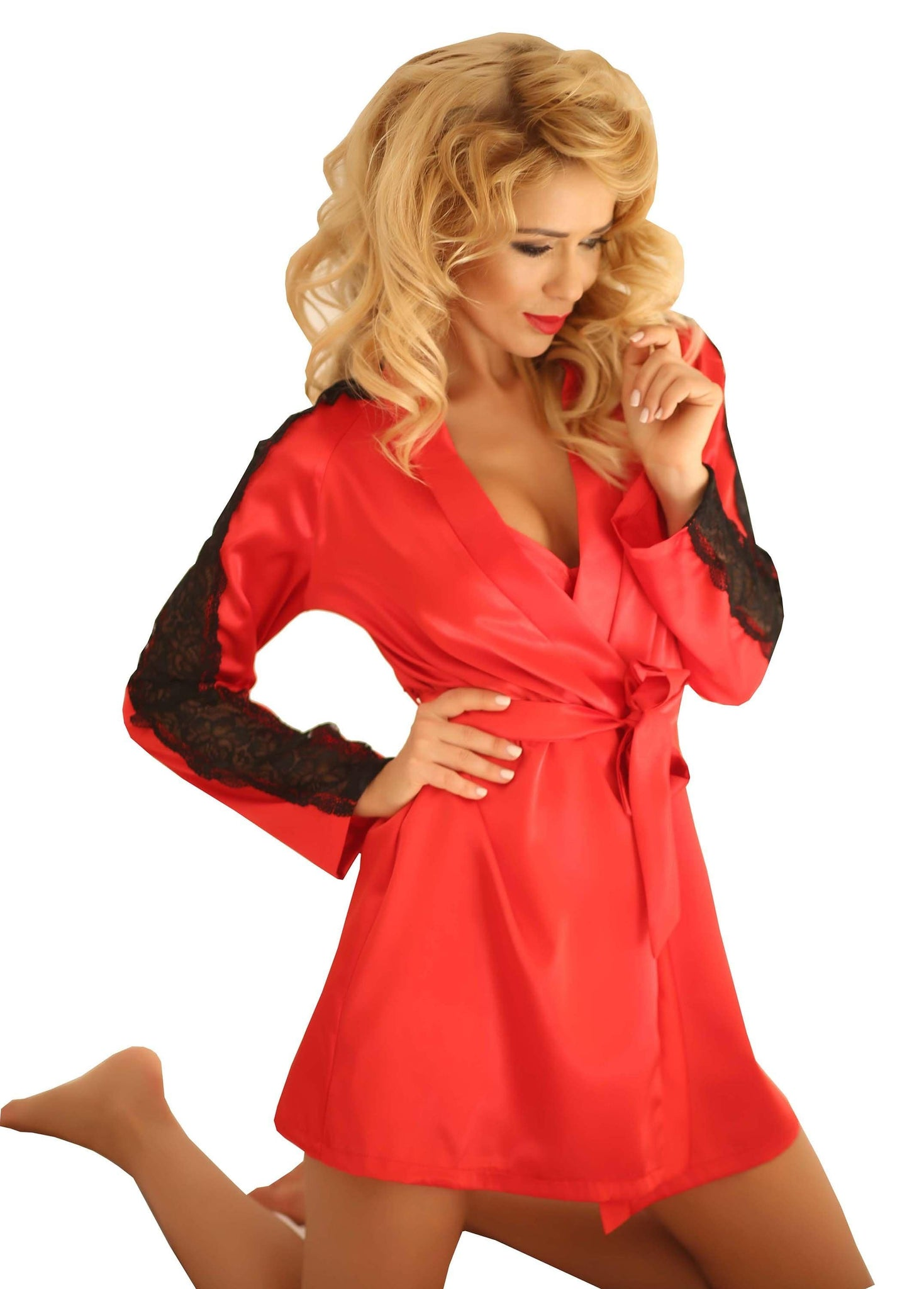 Two Tone Satin Dressing Gown-  Bath Robe