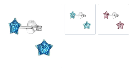 Kids Sterling Silver Star Ear Studs