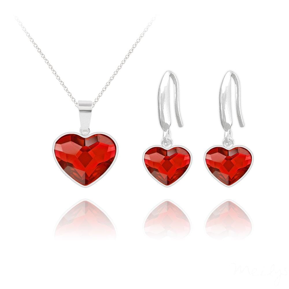 Light Siam Swarovski Crystal Heart Silver Jewelry Set
