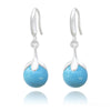 Silver Pearl Turquoise Earrings with Swarovski Crystal