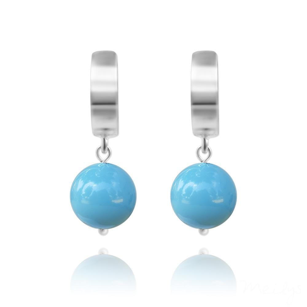 Silver Turquoise Pearl Earrings with Swarovski Crystal