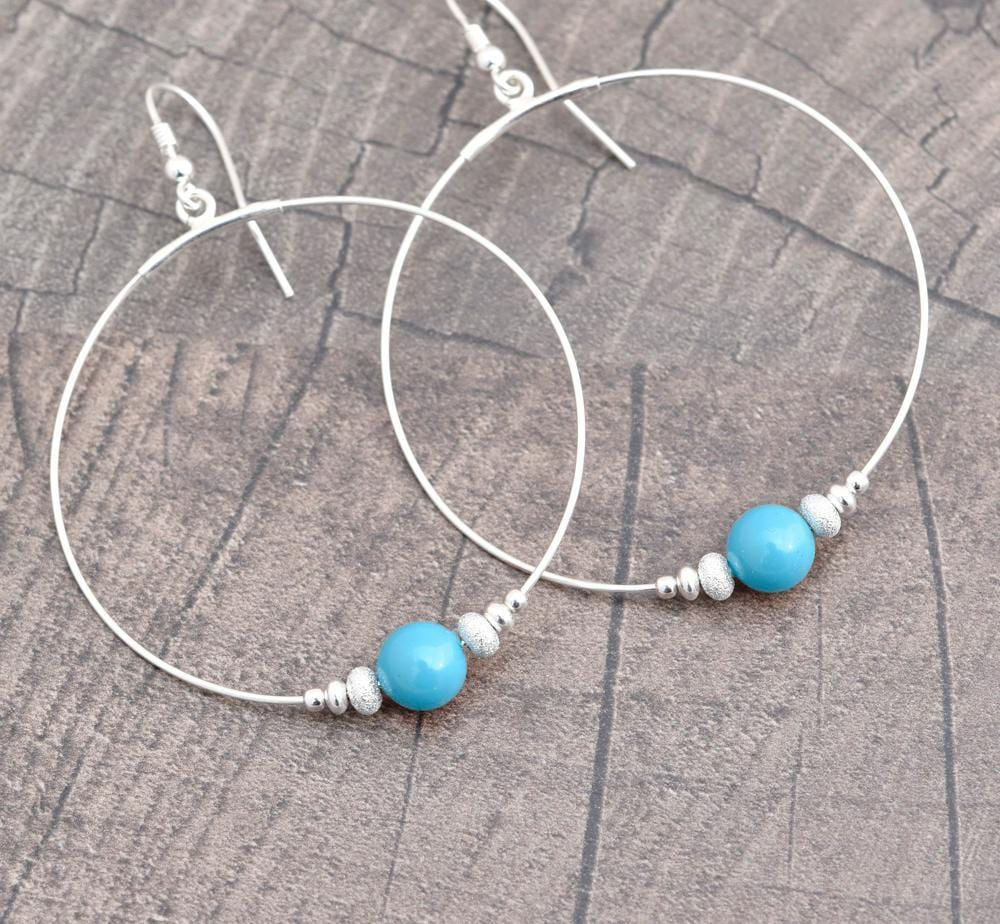 Large Hoop Silver Turquoise Pearl Earrings with Swarovski Crystal