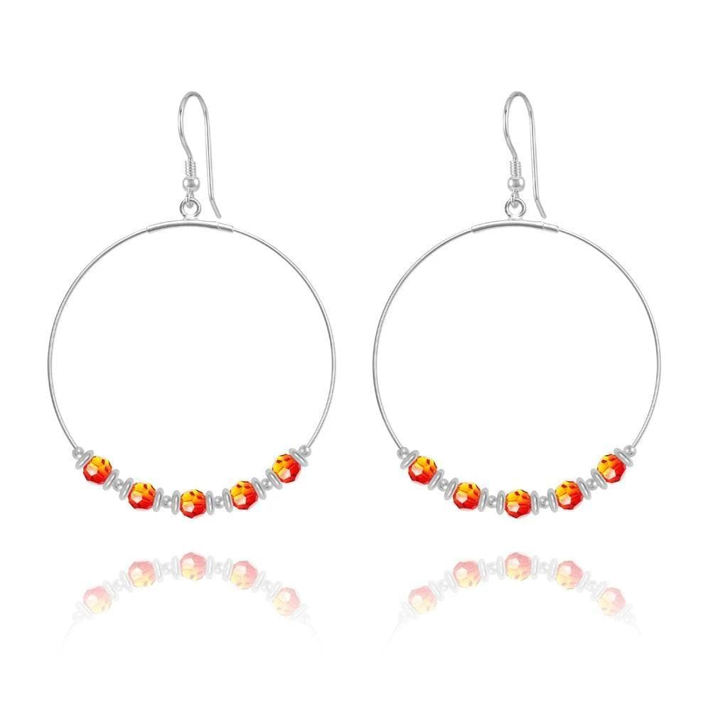 Silver Hoop Earrings with Fire Opal Swarovski Crystal