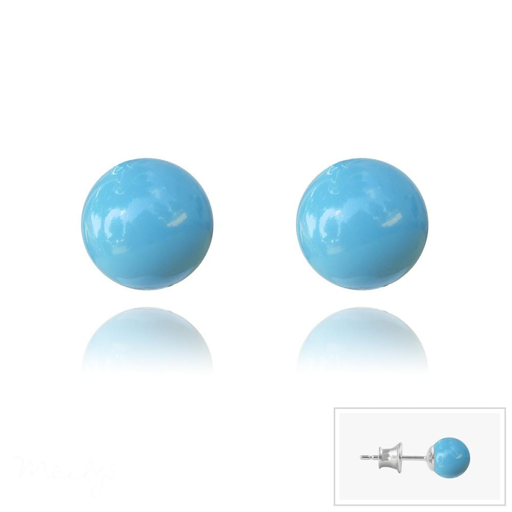 Silver and Pearl Turquoise Stud Earrings with Swarovski Crystal