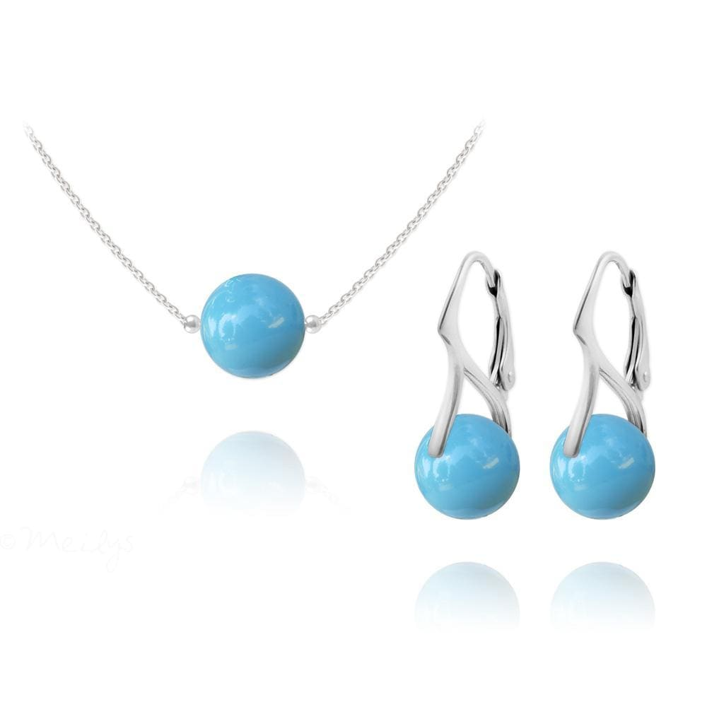 Silver Pearl Pendant Necklace Jewellery Set with Turquoise Swarovski Crystal