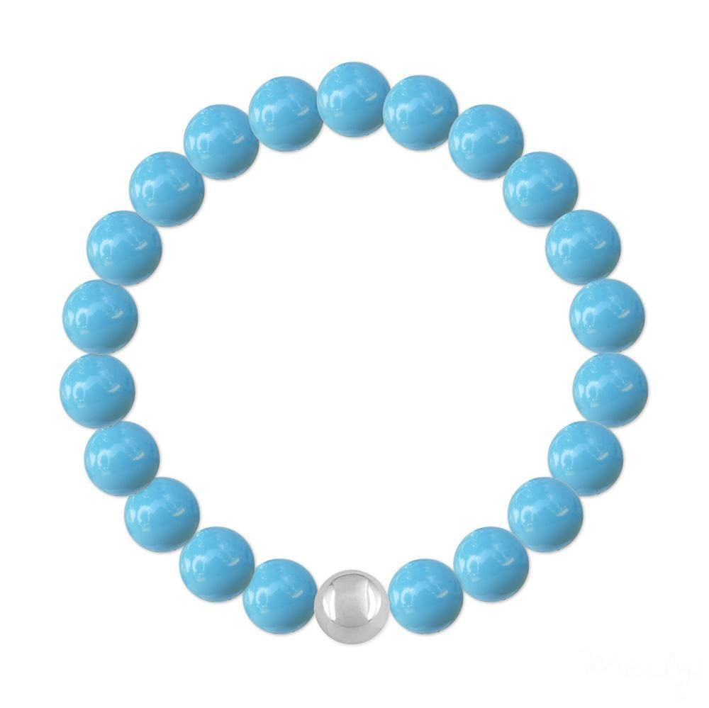 Silver Turquoise Pearl Bracelet with Swarovski Crystal