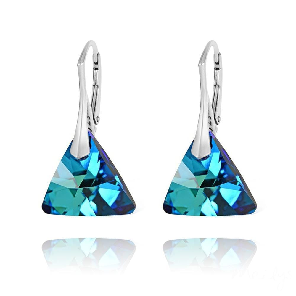 Bermuda Blue Leverback Triangle Silver Earrings with Swarovski Crystal