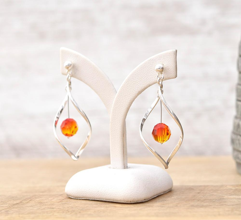 Silver  Fire Opal Twisted  Earrings with Swarovski Crystal