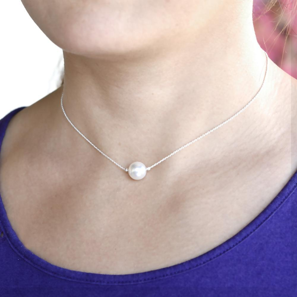 Silver Pearl Choker Necklace with Swarovski Crystal