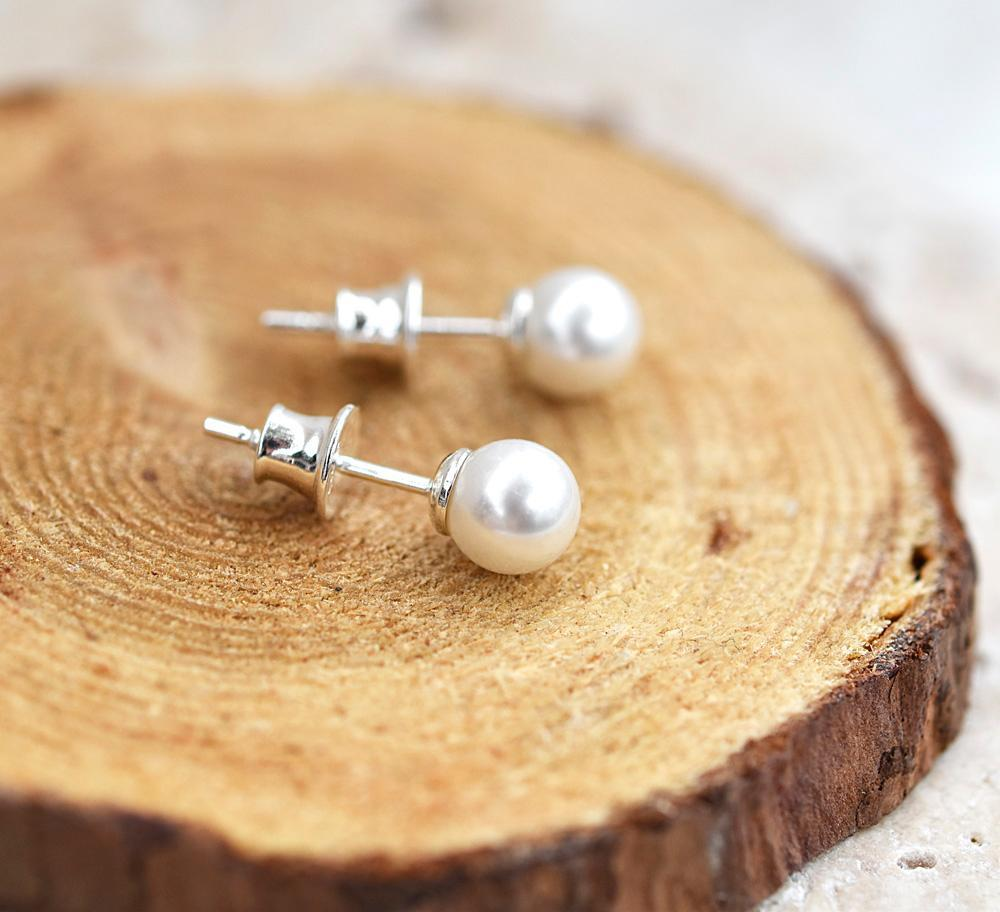 White Pearl Silver Stud Earrings with Swarovski Crystal