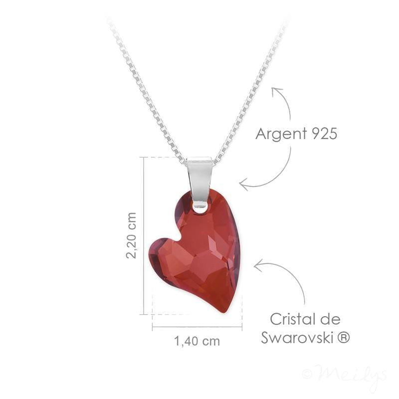 Red Magma   Silver  Heart Necklace with Swarovski Crystal