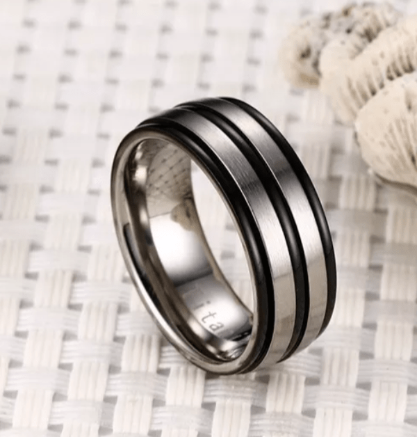 Black And Silver Groove Titanium Rings