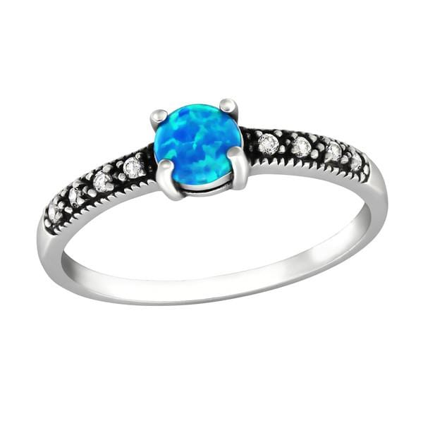 Silver Solitaire  Pacific Blue Engagement  Ring