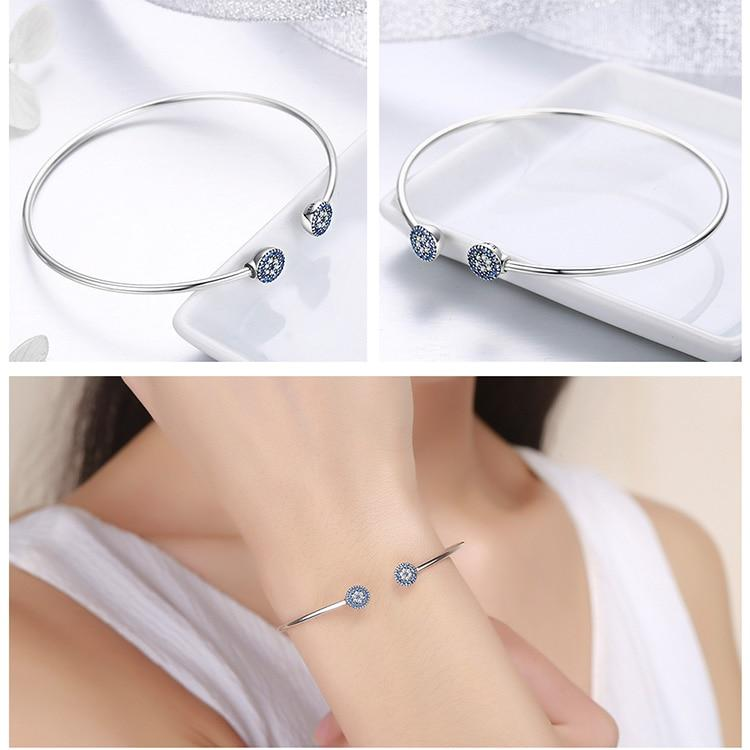 Blue Eyes Blue CZ  Cuff Bangle  Bracelet