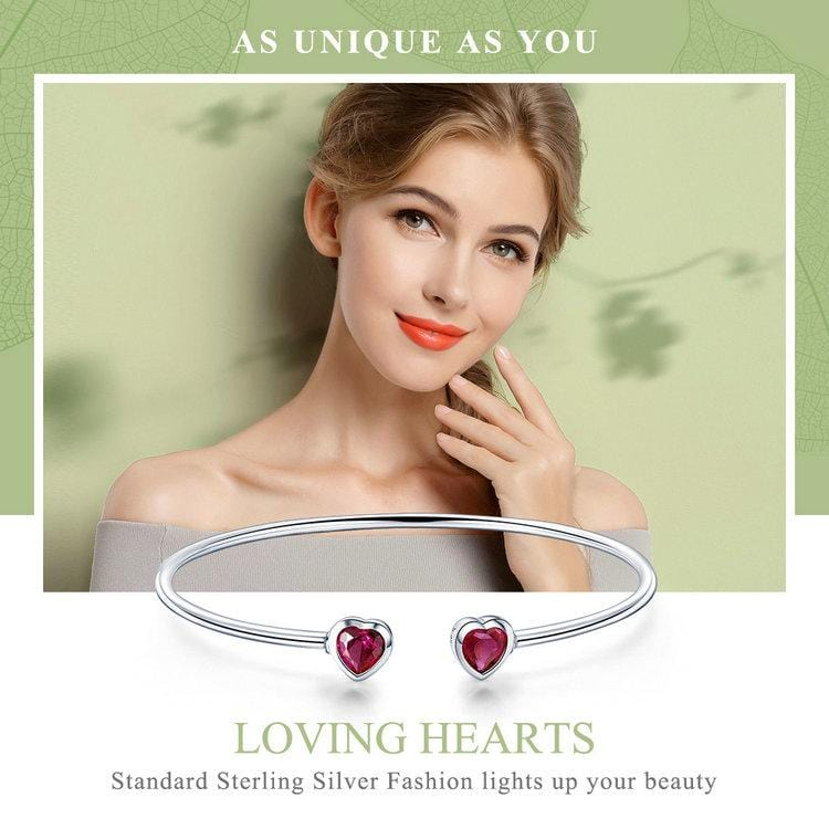 Sterling Silver Red CZ Women Cuff Bangle Bracelet