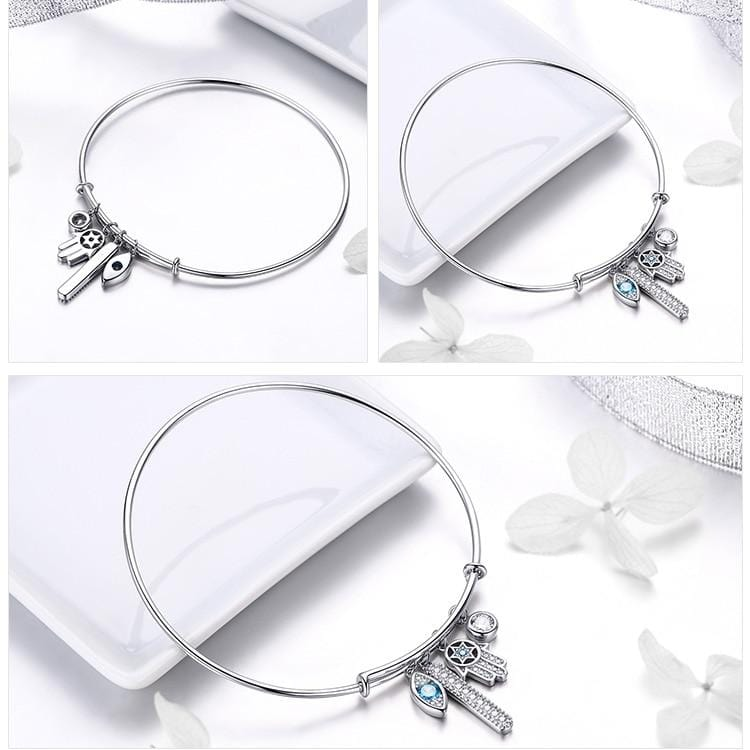 Sterling Silver Hamsa Bangle  Bracelet