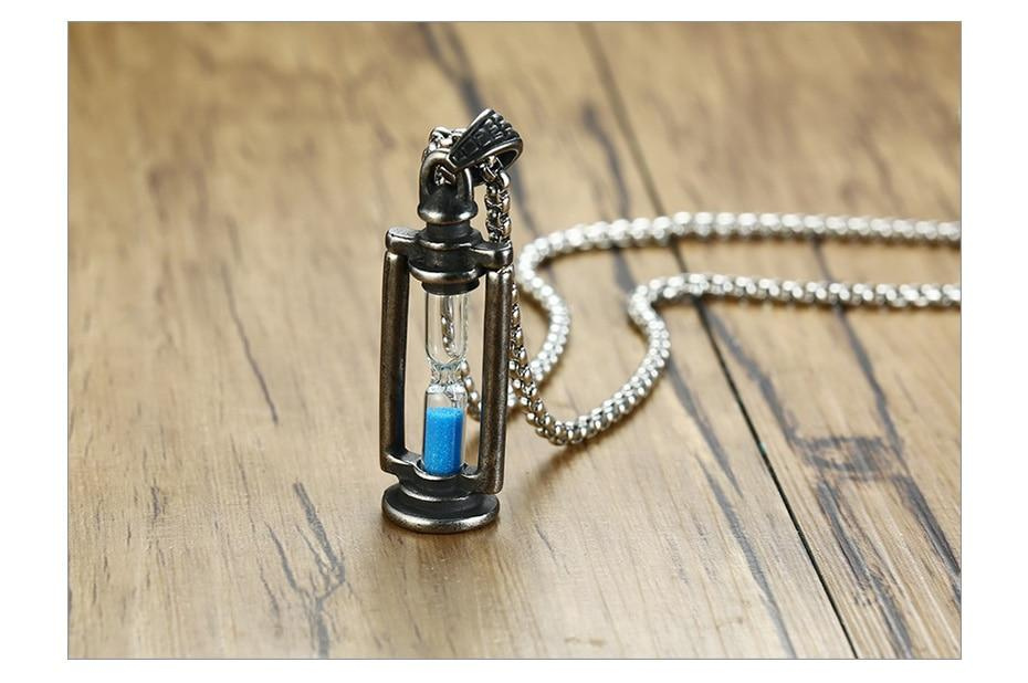Memory Hourglass  Men's  Promise  Pendant Necklace