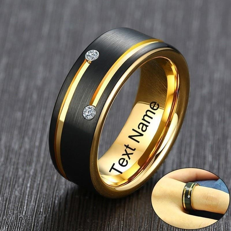 Personalised  Mens Gold and Black Tungsten Carbide Wedding Band