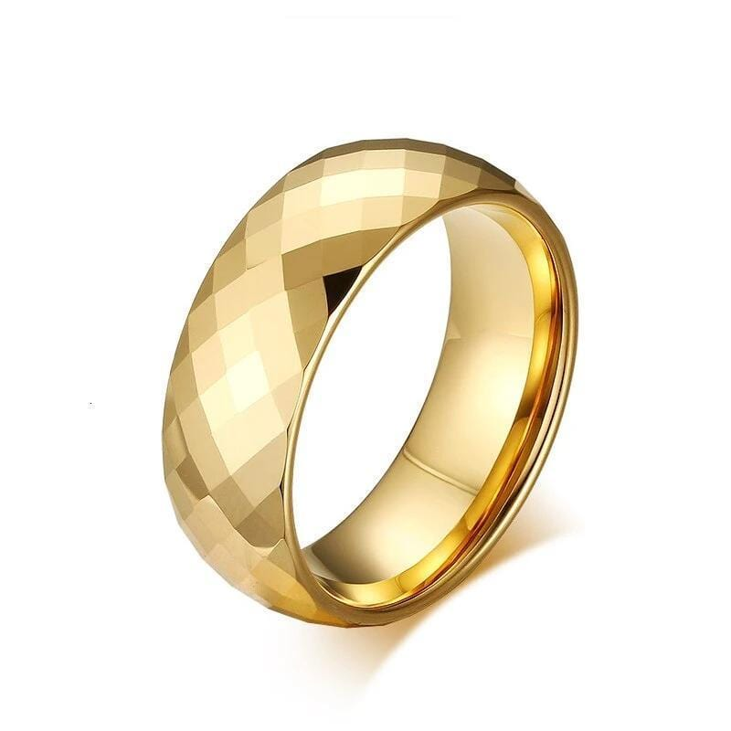 3D Tungsten Wedding Ring Gold