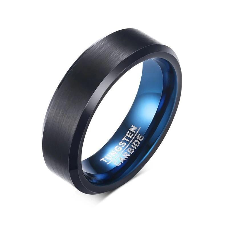 Real Tungsten Carbide Ring Black Blue