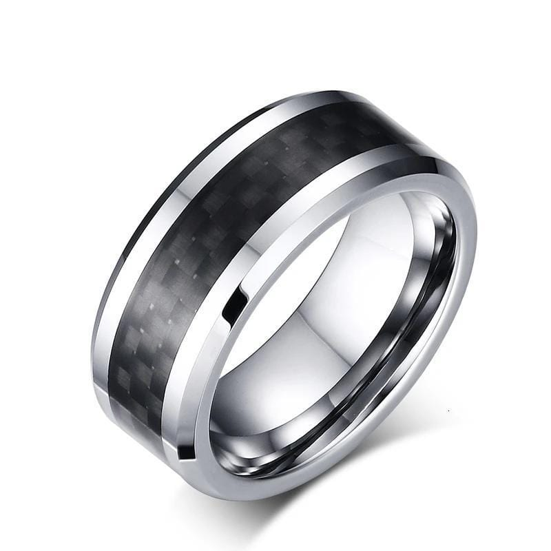 Personalised  Carbon Fiber Tungsten Carbide Ring