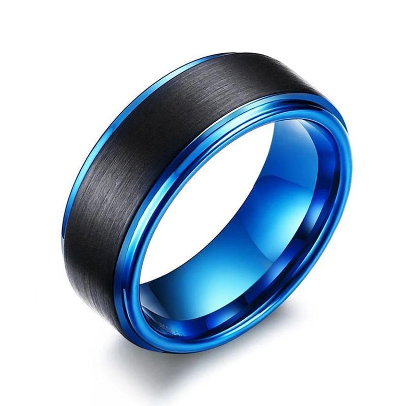 Brushed Carbon Fiber Mens Wedding band