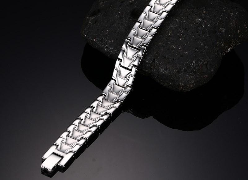 Mens Wide Link Bracelet in Pure Black, Silver and Gold
