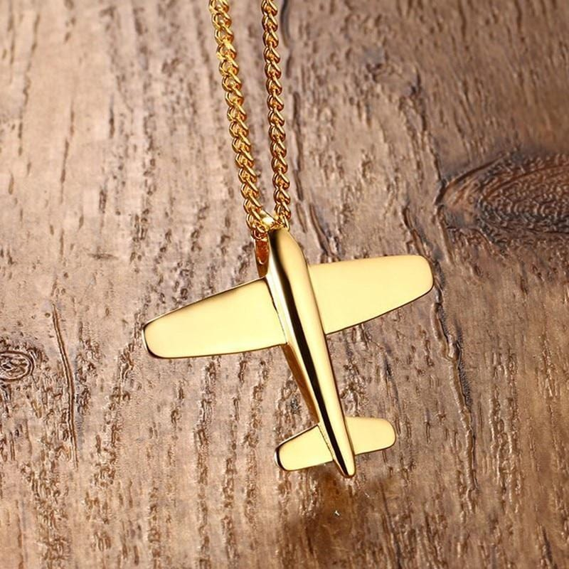 Men's Stainless Steel Aircraft Airplane  Pendant Necklace