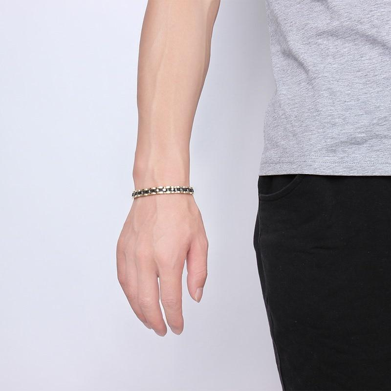 Men's Tungsten Link Chain Adjustable Bangle Bracelet