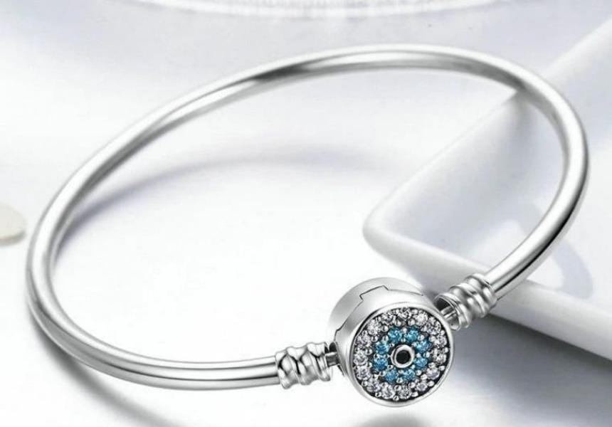 Sterling Silver Blue Eyes  Bangle  Bracelet