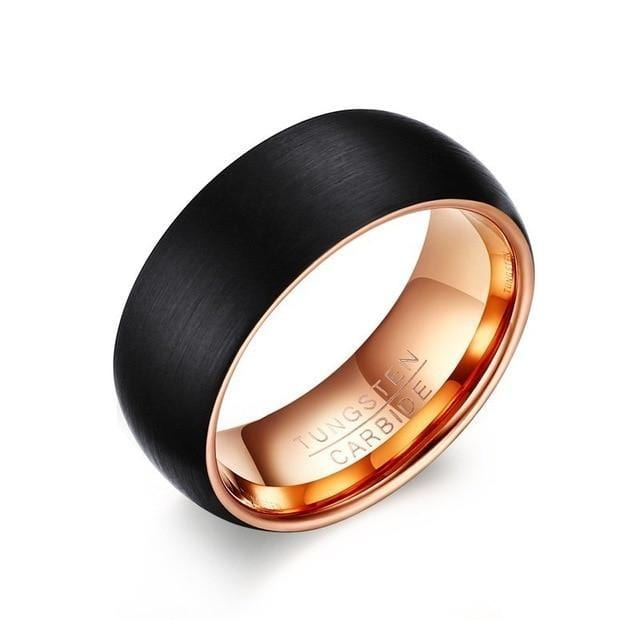 Tungsten Carbide Black Rose Gold Wedding Ring for Men